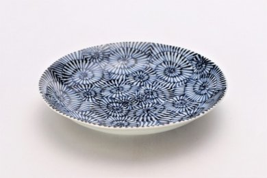 そうた窯 染付蛸唐草 6.5寸深皿