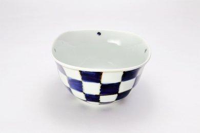 染付市松 角小鉢