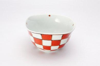 染錦赤市松 角小鉢
