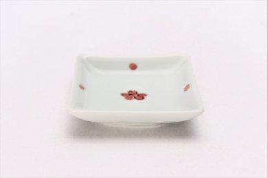 そうた窯 染付赤小花紋 正角姫小皿
