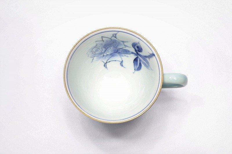 三宅製陶所 青磁染付バラ絵 コーヒーC/S 画像サブ3