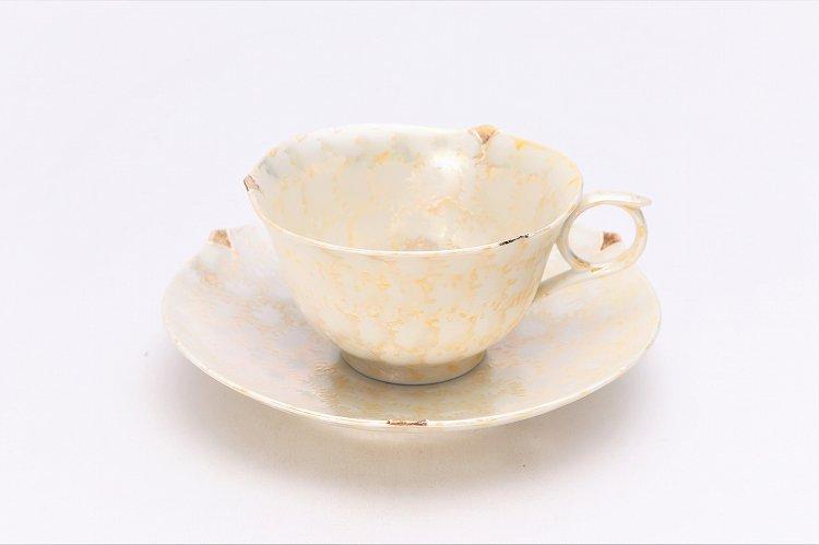 文山窯 ラスターゴールド 輪花コーヒーC/S (化粧箱入り) 画像メイン