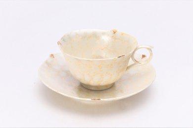 文山窯 ラスターゴールド 輪花コーヒーC/S (化粧箱入り)