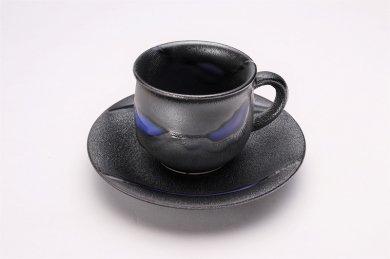 杏土窯 銀彩ブルー コーヒーC/S