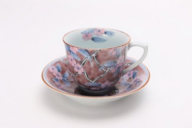 徳七窯 春彩(紫) コーヒーC/S