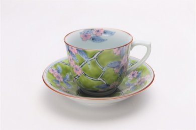 徳七窯 春彩(緑) コーヒーC/S