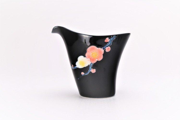 文山窯 黒釉花 片手酒器 画像サブ1