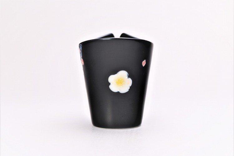 文山窯 黒釉花 片手酒器 画像サブ2