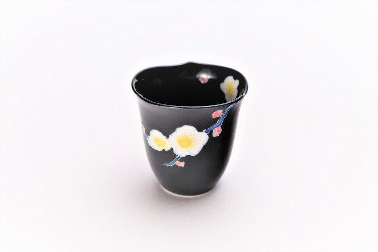文山窯 黒釉花輪花 ミニカップ 画像メイン