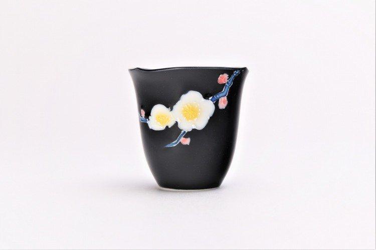 文山窯 黒釉花輪花 ミニカップ 画像サブ1