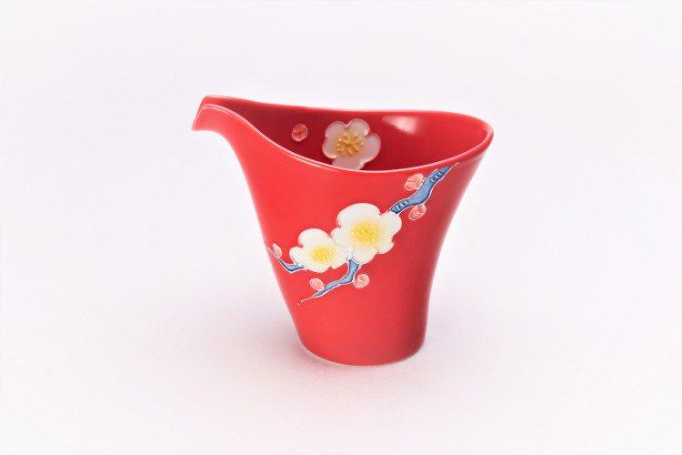 文山窯 赤釉花 片手酒器セット 画像サブ1
