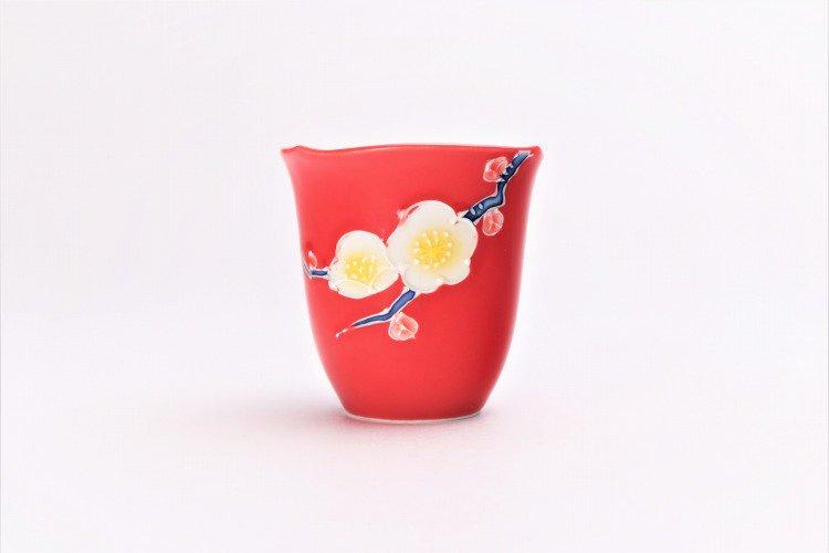 文山窯 赤釉花 片手酒器セット 画像サブ11
