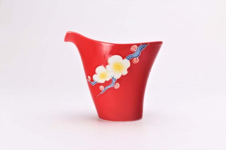 文山窯 赤釉花 片手酒器セット 画像サブ2
