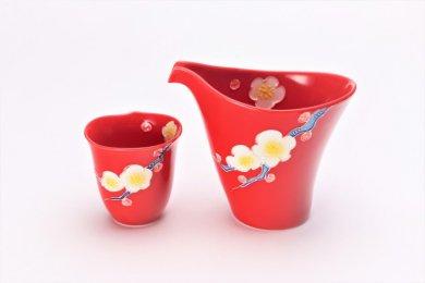 文山窯 赤釉花 片手酒器セット