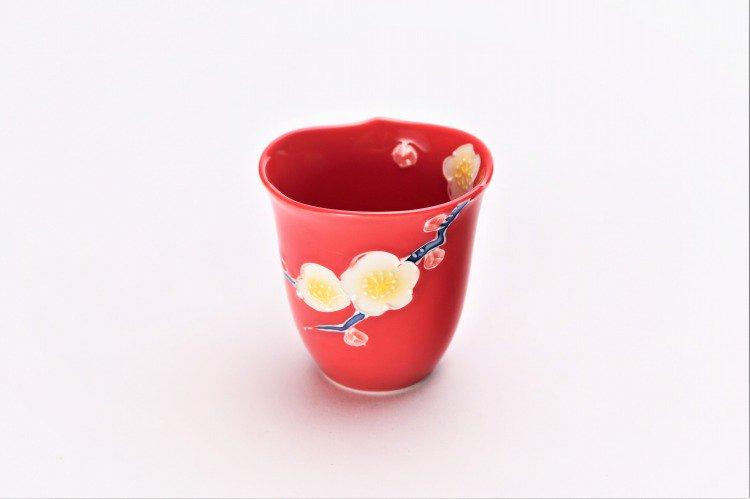 文山窯 赤釉花輪花 ミニカップ 画像メイン
