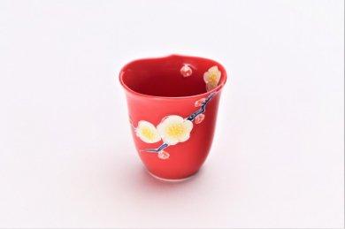 赤釉花輪花 ミニカップ