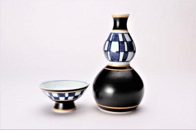 市松ひさご 酒器セット(黒)