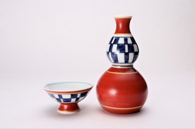 市松ひさご 酒器セット(赤)