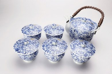 淡彩唐草 茶器セット