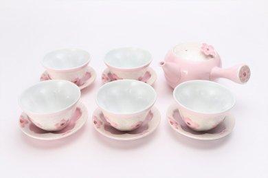 薄ピンク釉虹彩桜 茶器セット