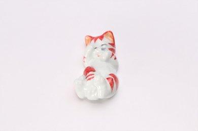 猫 箸置 赤