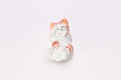 猫 箸置 オレンジ