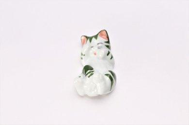 猫 箸置 緑