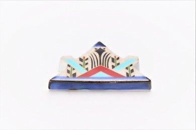 染錦兜型菖蒲絵 箸置