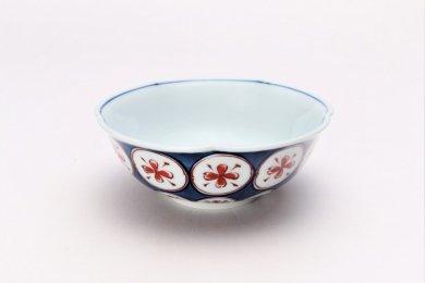 紺朱古代丸紋 ひねり小鉢