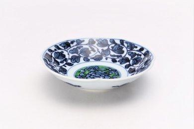 亮秀窯 緑彩牡丹見込 ひねり5寸皿