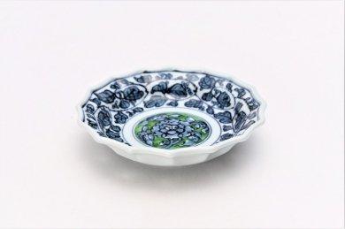亮秀窯 緑彩牡丹見込 4寸ギザ皿
