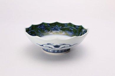緑彩唐草 12角皿