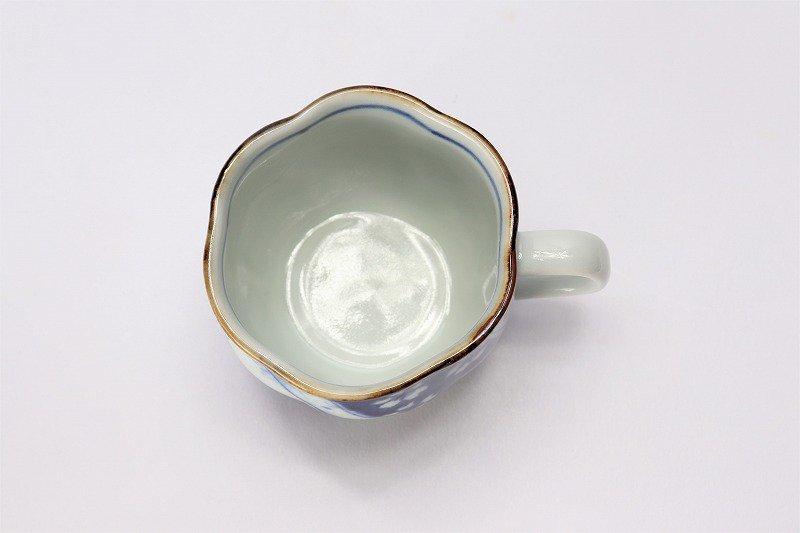 福泉窯 染付変り絵捻り紋 花びら型コーヒーC/S 画像サブ5