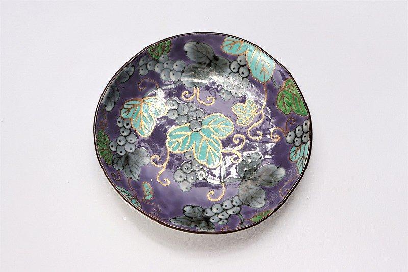 福泉窯 染錦ぶどう総柄(紫) 三ツ足コーヒーC/S 画像サブ6