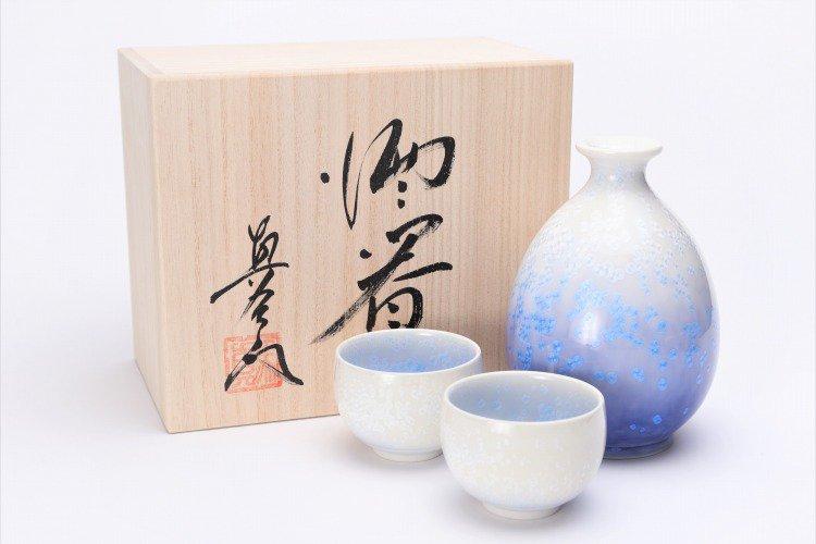 真右ェ門窯 藍染水滴 半酒器(木箱付) 画像メイン