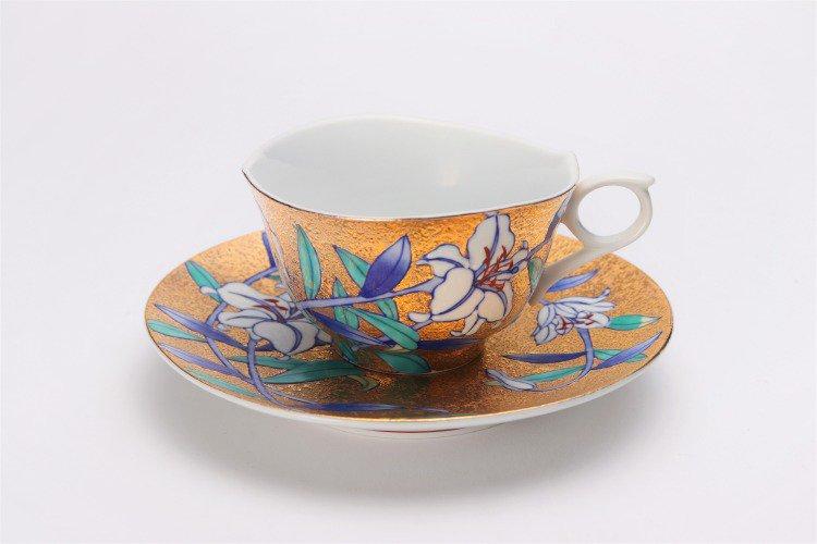 金龍窯 金彩百合 コーヒー碗(木箱付) 画像サブ1