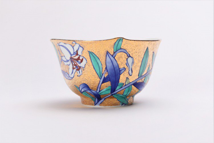 金龍窯 金彩百合 コーヒー碗(木箱付) 画像サブ3