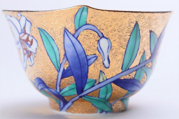 金龍窯 金彩百合 コーヒー碗(木箱付) 画像サブ6