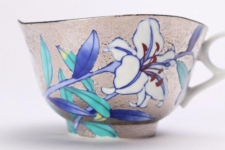 金龍窯 プラチナ百合 コーヒー碗(木箱付) 画像サブ5
