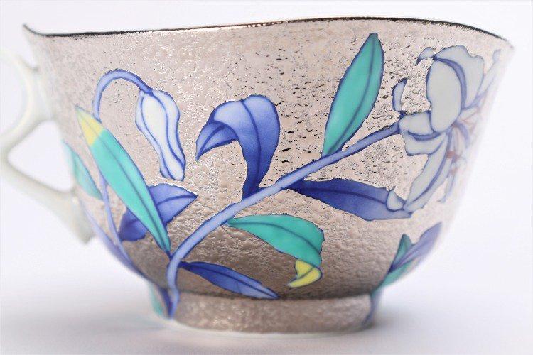 金龍窯 プラチナ百合 コーヒー碗(木箱付) 画像サブ6