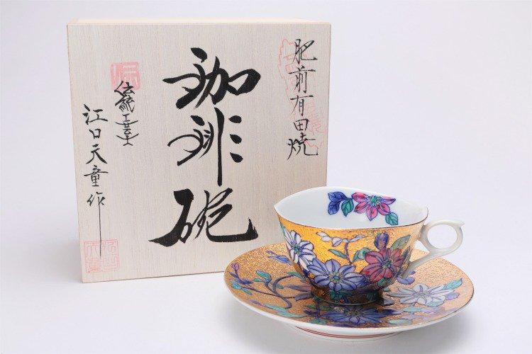 金龍窯 金彩鉄仙花 コーヒー碗(木箱付) 画像メイン