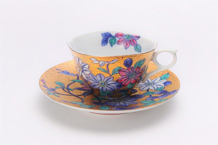 金龍窯 金彩鉄仙花 コーヒー碗(木箱付) 画像サブ1