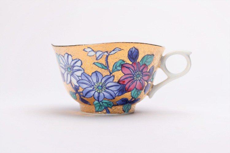 金龍窯 金彩鉄仙花 コーヒー碗(木箱付) 画像サブ2