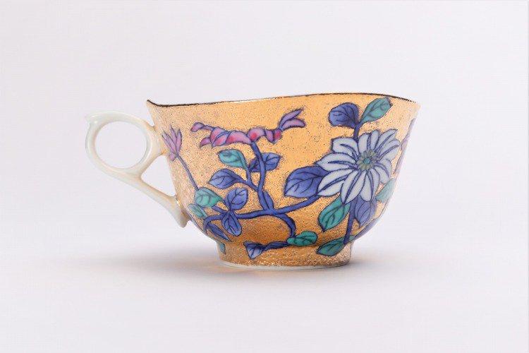 金龍窯 金彩鉄仙花 コーヒー碗(木箱付) 画像サブ4
