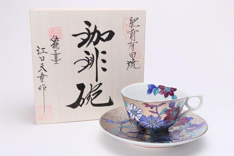 金龍窯 プラチナ鉄仙花 コーヒー碗(木箱付) 画像メイン