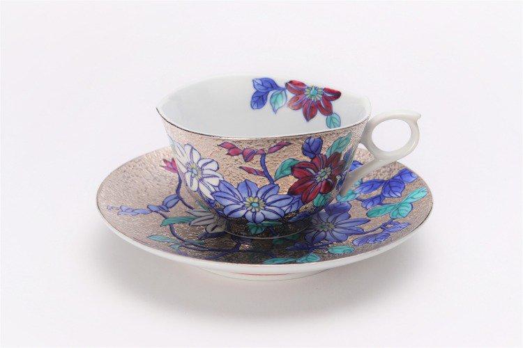 金龍窯 プラチナ鉄仙花 コーヒー碗(木箱付) 画像サブ1