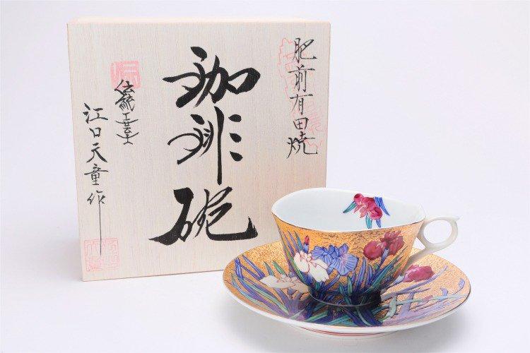 金龍窯 金彩菖蒲 コーヒー碗(木箱付) 画像メイン