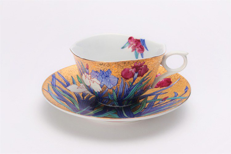 金龍窯 金彩菖蒲 コーヒー碗(木箱付) 画像サブ1