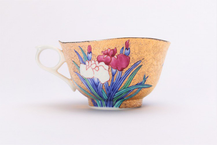 金龍窯 金彩菖蒲 コーヒー碗(木箱付) 画像サブ3