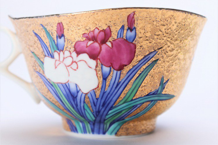 金龍窯 金彩菖蒲 コーヒー碗(木箱付) 画像サブ5
